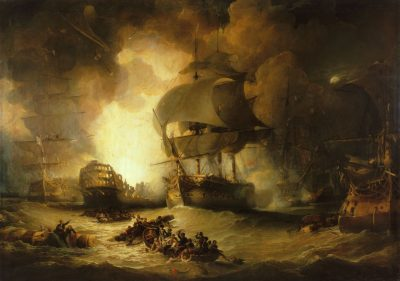 """The Destruction of L'Orient at the Battle of the Nile"" George Arnald, 1827, National Maritime Museum, in Greenwich, London, England"