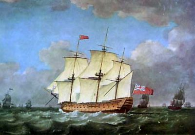 The HMS Victory, the flagship of Nelson's division of the British fleet at the Battle of Trafalgar