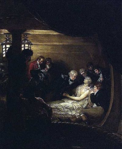 Nelson dying in the cockpit of HMS Victory