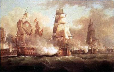 His Majesty's Ship Neptune in action at the Battle of Trafalgar
