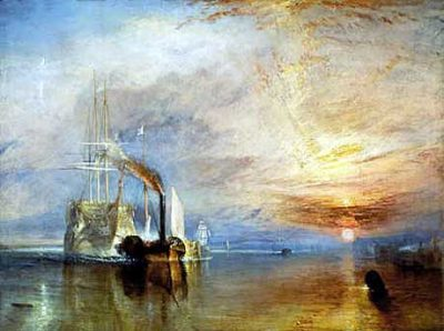 The Fighting Temeraire by William Mallord Turner: The Fighting Temeraire towed to be broken up in 1837: sad remnant of one of Nelson's great ships. Once voted the greatest painting in English history, it can be seen at the National Gallery in London.